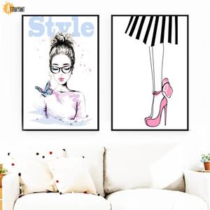 Mode coloré style fille mur d'art de papillon peinture de toile Affiches nordique et mur Prints photos pour Living Room Decor