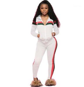 2adet Suits Uzun Kollu Pancelled Çizgili Bayan eşofman Casual Artı Ölçekli Bayan Giyim Hırka Kapşonlu Kadınlar