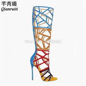 Qianruiti Sapatos Mujer Summer Rome Knee High Boots Sexy Heels Platform Stiletto Shoes Women Laser Cut Outs Gladiator Sandals