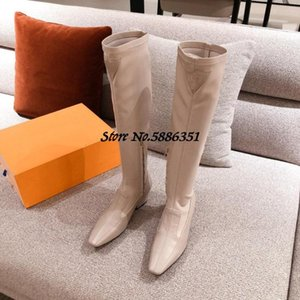 Real Leather Boots Women Long Boots Pointed Toe Low Heel Shoe Women Knee High Slip On Thick Bottom Booties Autumn