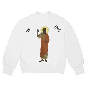 20SS Jesus é o Rei da pintura a óleo de manga comprida camisola Religião Crewneck Pullover Homens Mulheres High Street Hoodies Sweater Outdoor HFYMWY454