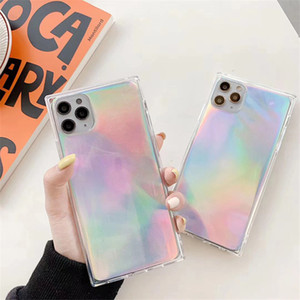 Square Hologram Phone Case for Iphone 11 Pro Max 7 8 Plus X XS MAX XR Soft TPU Holographic Cover Coque 300pcs