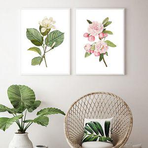 Botanique Poster Wall Art Blanc Fleur Magnolia Yulan Imprimer Rose Fleurs Pommetier Images Plantes florales Peinture décor de toile