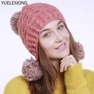 2020 Mixed Color Knitted Beanies Hat Women Wool Earmuffs Hats Lady Winter New Handmade Jacquard 3 Ball Warm Bonnet Skullies Caps