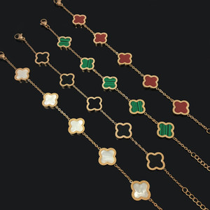 مصمم النساء سحر أساور التيتانيوم الصلب زهرة أربعة أوراق البرسيم سوار الأزياء العصرية ورقة أساور للبنات الحزب مجوهرات هدايا