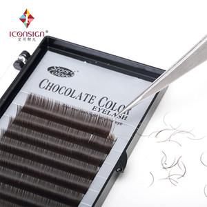 Hot sale color chocolate 10 lines thick eyelash Brown eye lash Extensions false eyelash single lashes beauty Cilia makeup