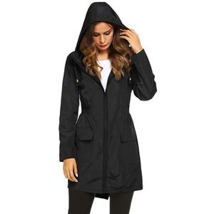 Women Long Jackets Windbreaker Outdoor Sports Ladies Rain Coat Wear Autumn Quickly Dry Sport Hoodies Zipper Wind-jacket DHL Shipping