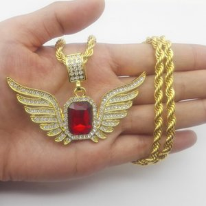 Hip Hop Angel Wings with Big Red Stone Pendant Necklace Men Women Iced Out Jewelry