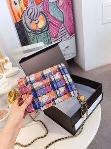 Un color de las mujeres del hombro Mujer Bump trapo de cadena de la perla oblicua Satchel Mujer cuero auténtico bolso con el Mensajero de alta calidad bolsa de la vendimia