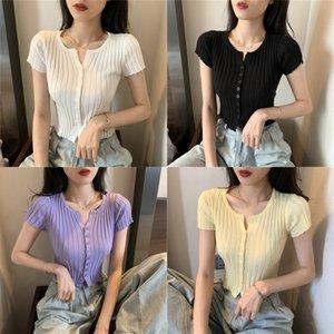qRHXo Internet Celebrity estate e lo stile coreano sottile sexy piccolo stile occidentale maglietta short cardigan lavorato a maglia T-shirt giacca giacca giacca
