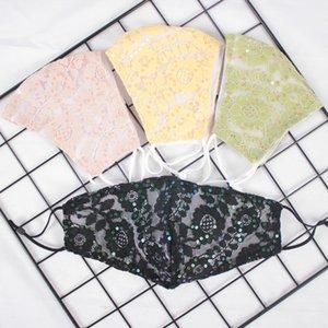 Dentelle Paillettes Masques bouche réutilisable inhalables respirateurs Lavable couleurs riches Mascarilla estival en plein air chaud Crème solaire de vente 4 9DF E2
