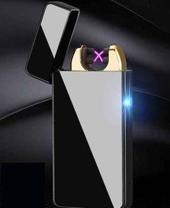 metallo Accendino USB ricaricabile senza fiamma ad arco elettrico antivento della sigaretta del sigaro Croce doppio impulso Slim Accendino con LED 7 colori scegliere