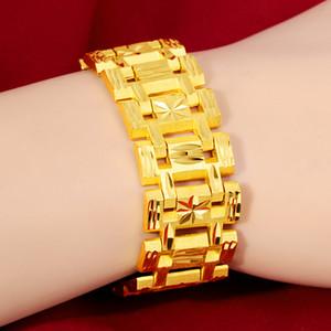 monili di alta qualità 24K riempito il regalo di compleanno del braccialetto di vigilanza di oro Fibbia braccialetto placcato Uomo