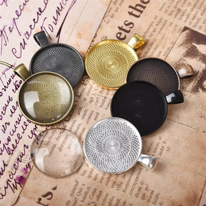 10Pcs Lot Zinc Alloy Pendant Blank Tray Bezel Settings 25mm Round Cabochon Base Plated for Jewelry Making Handmade DIY Component