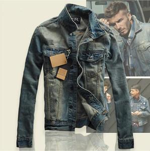 Hi-Calle hombres jeans rotos chaquetas lavadas mosaico apenada Denim Hombre Slim Fit Streetwear Hip Hop de la vendimia de ropa para hombre de la chaqueta