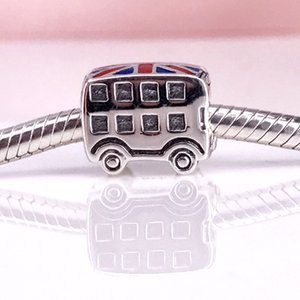 Authentic 925 Sterling Silver London Bus With Blue & Red Enamel Charm Fit DIY Pandora Bracelet And Necklace ps2060