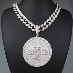 Iced Out Номер 44 Большой размер Алмазный круглый кулон ожерелье 18K позолоченный Mens HipHop Bling подарка ювелирных изделий