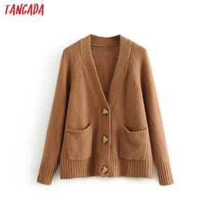 automne hiver Tangada femmes vintage cardigan brun pull cardigan tricoté mode dame surdimensionné manteau 3H413 CX200810