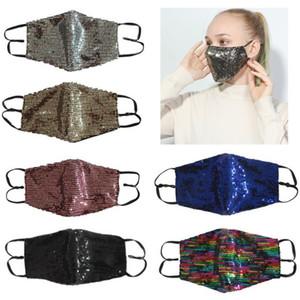 Бесплатная доставка моды Bling Bling Sequin маска Защитные маски пылезащитные моющийся ветрозащитный Повторное использование Face Mask Упругие ушной Mouth маска