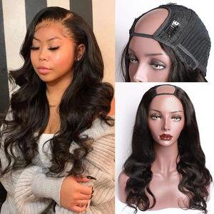 U Parte peruca corpo onda humana perucas de cabelo para cabelo Remy Mulheres brasileiras podem ser permed e Dye frete grátis onda do corpo Wig