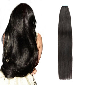 Colle sur cheveux naturels Extensions Silky droite Remy Cheveux # 1B Off Black Seamless peau invisible PU bande Trame Extensions cheveux