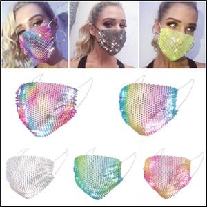50pcs DHL Moda máscaras coloridas de malha Bling Máscara diamante partido Rhinestone Net Grid Mask lavável Sexy oco por Mulheres