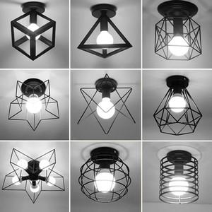 Vintage Tavan Işıkları Luster Luminaria LED Tavan Lambası Loft Demir Kafes Armatürleri Ev Aydınlatma Plafonnier Oturma Odası Koridor Için