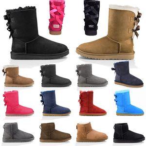 Ugg boots Uggs bottes de neige mode botte d'hiver classique mini cheville courte dames filles femmes chaussons triple noir châtaigne marine chaussures pour femmes