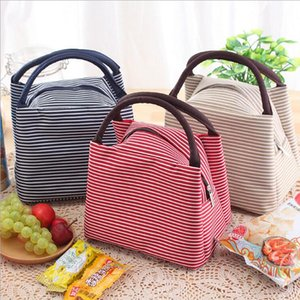 Waterproof Oxford Bento Bag Colorful Stripe Heat preservation Lunch Bags Picnic Traveling Hiking Lunch Storage Container CLS415