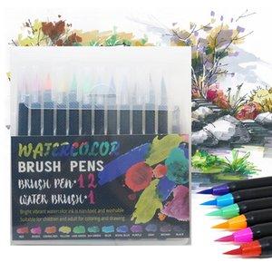 12PCS Suluboya B Marker Kalem Sanat Keçe Painter Hat Okulu Sanat Yazı Boyama B Kalemler Setleri Malzemeleri