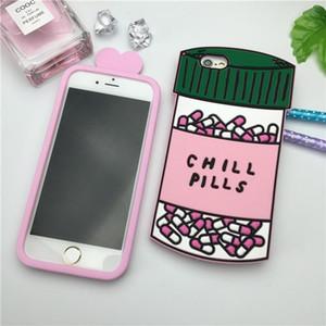 Para el caso de lujo 2017 poción de amor Chill Píldoras de la botella de teléfono Iphone 5 5s 5SE 6 6s 4 0.7 6plus 6s de silicona suave 3d Para Fundas