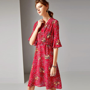 red leopard floral silk dresses women 2020 summer brand long casual sexy office work beach boho party dress plus size dropship