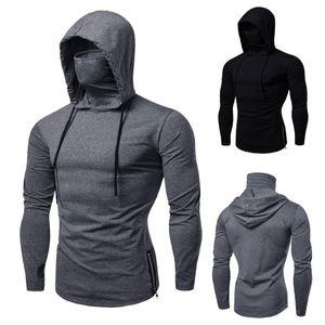Mens Gym Thin Hoodie Long Sleeve Hoodies With Mask Sweatshirt Casual Splice Large Open-Forked Mask Hoodie Sweatshirt Hooded Tops Lpwdr
