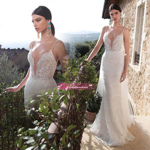 Berta 2020 Sexy Backless Wedding Dresses Spaghetti Straps Custom Made Sweep Train Mermaid Lace Bridal Gowns BE1530 .