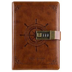 B6 Notepad Vintage Notebook diário Memos Planner Agenda Caderno Pu Couro Sketchbook com bloqueio Escritório Student senha