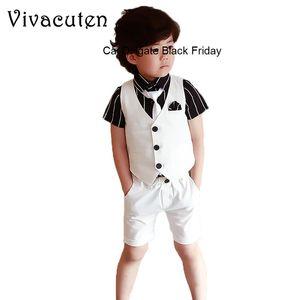 Flower Boys Summer School Suit Gentleman Kids Boy Cotton Vest Short 2pcs Formal Children Clothing Set for Birthday Party Wedding