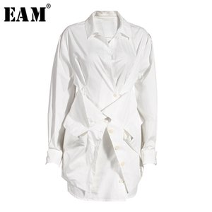 [EAM] Women White Cross Stitch Irregular Blouse New Lapel Long Sleeve Loose Fit Shirt Fashion Tide Spring Autumn 1X021 200923