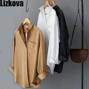 Lizkova Chemisier blanc à manches longues femmes Suede Formal Shirt Automne Mesdames Chemisier Lapel Streetwear 200923