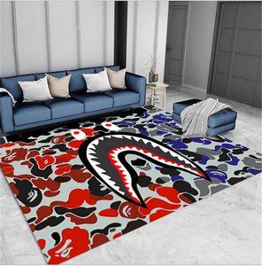 Cartoon Shark Face Mouth Floor Mat Kitchen Carpets Living Room Bedroom Bathroom Rug Sofa Table Camouflage Blanket Yoga Pad Non-slip E81101
