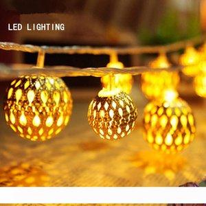 Праздничный свет марокканской мяч полоса 20 лампы шарики установить светодиодную строку для свадьбы фея фонари рождественские украшения
