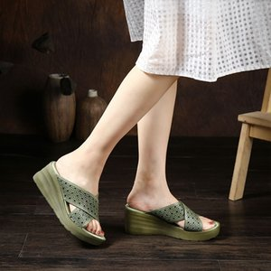 YourSeason лето Женщины клинья Тапочки из натуральной кожи 2020 Новый Handmade Сжатый платформы Женщины Слайды обувь