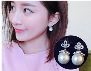 up-market high quality low price 2 pairs lots lady's crystal crown natural pearl earings 925 silver needle cvx