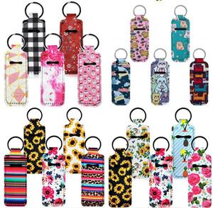 Neoprene Chapstick Holders Keychains Sunflower Lipstick Cases Cover Keyring Protable Hand Sanitizer Holders Perfume Bottles Cover HWE1890