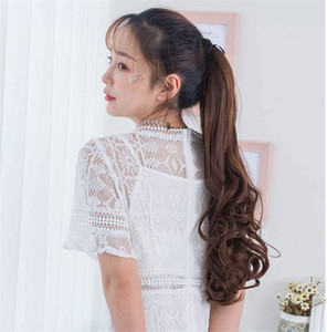 Women Ponytail Synthetic Band Ponytail Extension Hair Clip Natural Swing Clip In Curly Hair Extension Ponytail Hair Headwear
