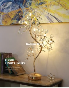 Modern Crystal Table Lamps For Bedside D50cm H78cm G4*6pcs LED Floral Modern Floral Table Lamp Nordic K9 Luxury Crystal Home Decoration