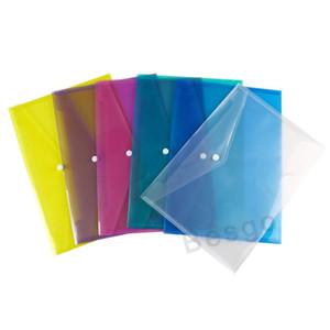 أكياس ملف وثيقة A4 مع زر المفاجئة مظاريف إيداع شفافة الأظرف البلاستيكية ورقة المجلدات 18C مجلد زر واضح 6 ألوان BH2709 DBC