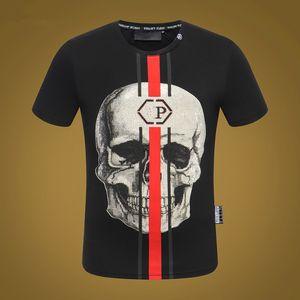 alta calidad mujeres T ShirtModal algodón o cuello B 2020 Hombres camiseta cráneos de diamantes de imitación de verano delgado de manga corta T-shirt