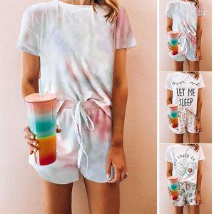 Women Summer Tie Dye Pajamas Colorful Loose Short Sleeved Lace Up Shorts Fashion Pajamas Set