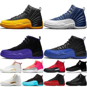 Jumpman di pallacanestro del Mens scarpe 12s Pietra Blu Università Oro Flu gioco 12 Scuro Concord gioco reali Jumpman uomini allenatore sneakers des chaussuers