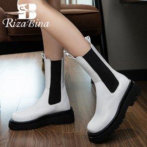 RIZABINA Frauen Halb kurze Stiefel Mode starke untere Schuhe Women Casual Winterstiefel Coole Schuhe Schuhe Größe 34-42